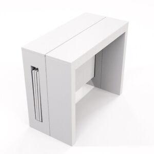 Tavolo Consolle Allungabile Bianco Lucido.Dettagli Su Tavolo Consolle Allungabile 80x44 186x76 Fino 8 Posti Salvaspazio Bianco Lucido