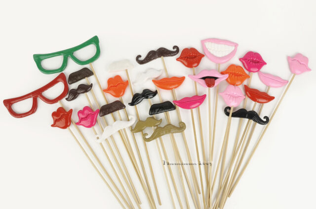 28pcs Polymer Clay Photo Booth Props For Wedding/Party Moustache Lips on a stick