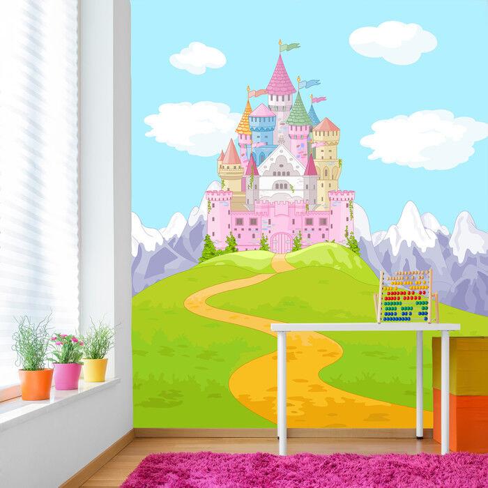 Pink Princess Castle Wall Mural Fairytale & Fantasy Photo Wallpaper Girls Decor