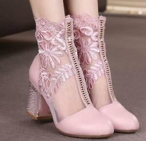 Women-039-s-Block-Heel-Mesh-Sandals-Lace-Floral-Ankle-Boots-Sexy-Shoes-Round-Toe-Sz