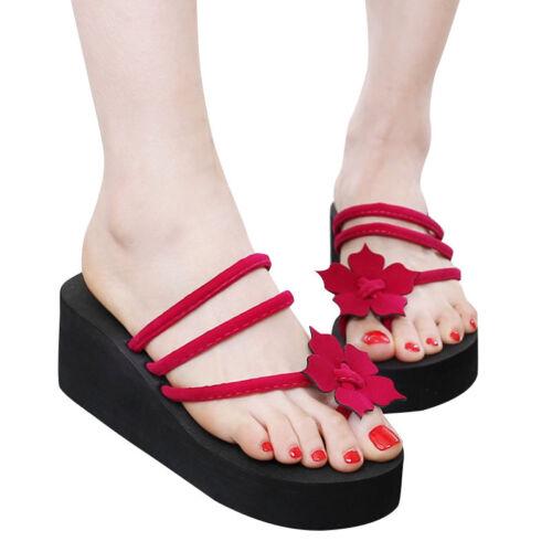 Damen Sommer Sandalen Flip Flops Keilabsatz Strand Schuhe Zehentrenner Wedg Q7H6