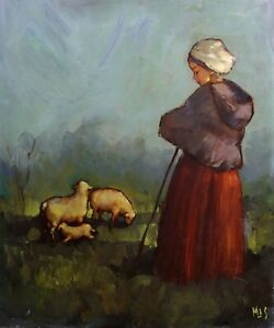 Young-Shepherdess-and-Ses-Ewe-Oil-on-Canvas-Signed-Mas-in-spirit-of-Millet