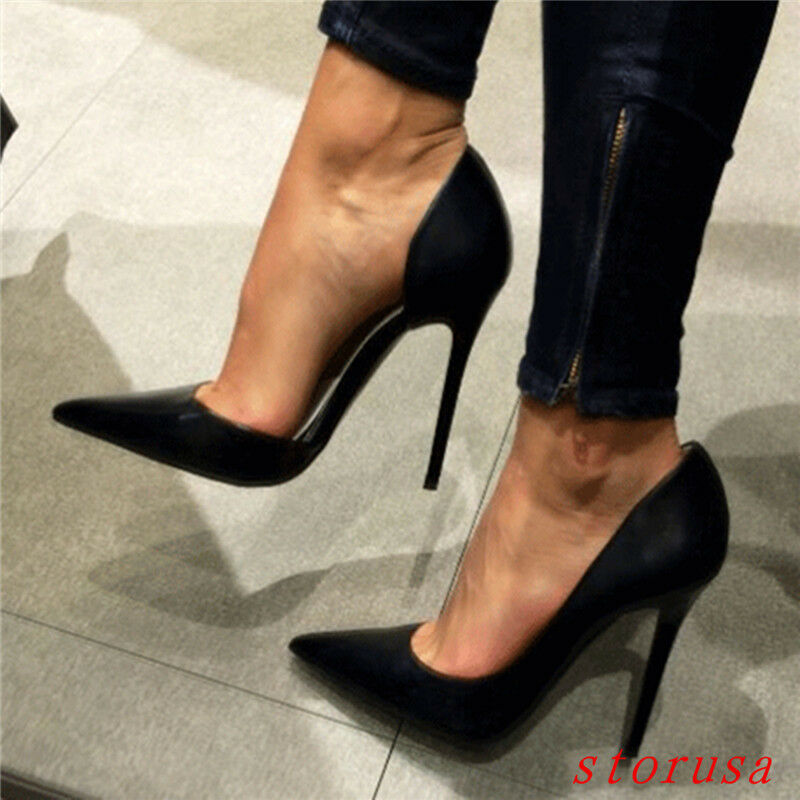 femmes sexy Madame super talons aiguille chaussures pointues pointues pointues souliers noirs de taille b2a21c