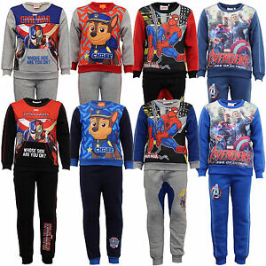Jungen-Satz-Pullover-Hosen-Marvel-Paw-Patrol-Avengers-Spiderman-Fleece-Winter