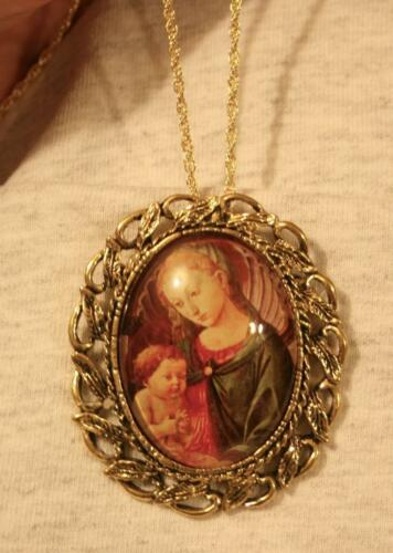 Gorgeous Swirled Renaissance Blue Red Robed Madonna & Christ Necklace Brooch Pin
