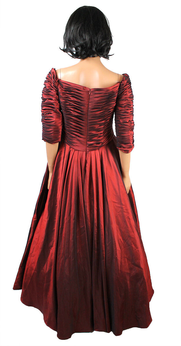 Dark Red Taffeta Taffeta Taffeta Wedding Gown Sz 12 L American Bride Long Bridesmaid Prom Dress 9aeb32