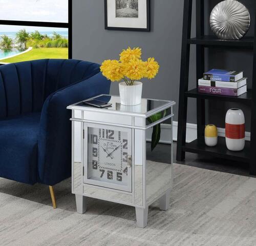 Mirrored Holywood Regency Style 1 Door Cabinet Nightstand Table w WORKING CLOCK