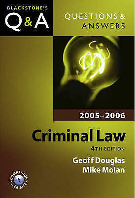 """""""AS NEW"""" Douglas, Geoff,Molan, Mike, Questions and Answers: Criminal Law 2005-20"""