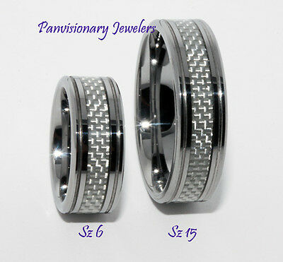 8mm Silver Gray Fiber Inlay Comfort Fit Tungsten Ring Wedding Band Size 14