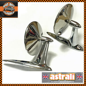 Pair-Stainless-Steel-Chrome-Longbase-Door-Wing-Mirrors-For-CLASSIC-FORD-039-S