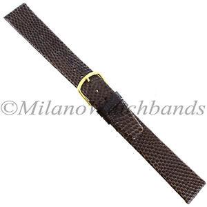 18mm-Gilden-Brown-Luxury-Flat-Genuine-Wild-Lizard-Unstitched-Mens-Band-Long-XL
