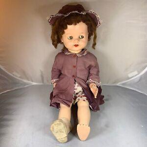 Vintage-Ideal-Doll-Saucy-Walker-Brown-Hair-Purple-Floral-50s-Dress-Bonnet-Hat