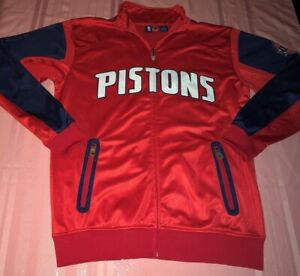 Detroit-Pistons-Full-Zip-Track-Jacket-Large-Tall-Double-Embroidered-Logos-NBA