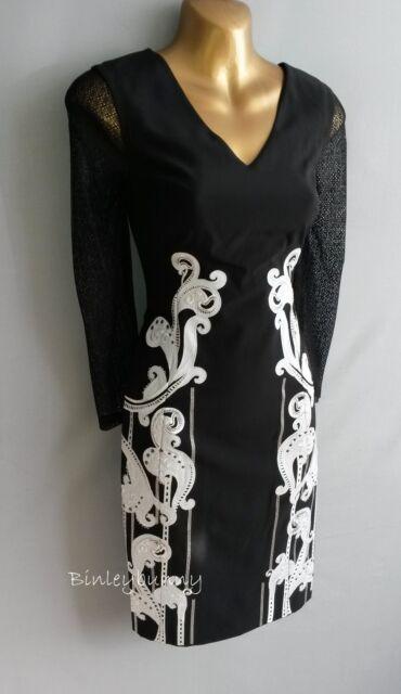 New KAREN MILLEN Black Pencil Dress BNWT UK 12 White Artwork Embroidery DT171