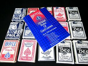Bicycle Rules of Card Games Book; Lot of 15 Decks Casino Used Playing Cards
