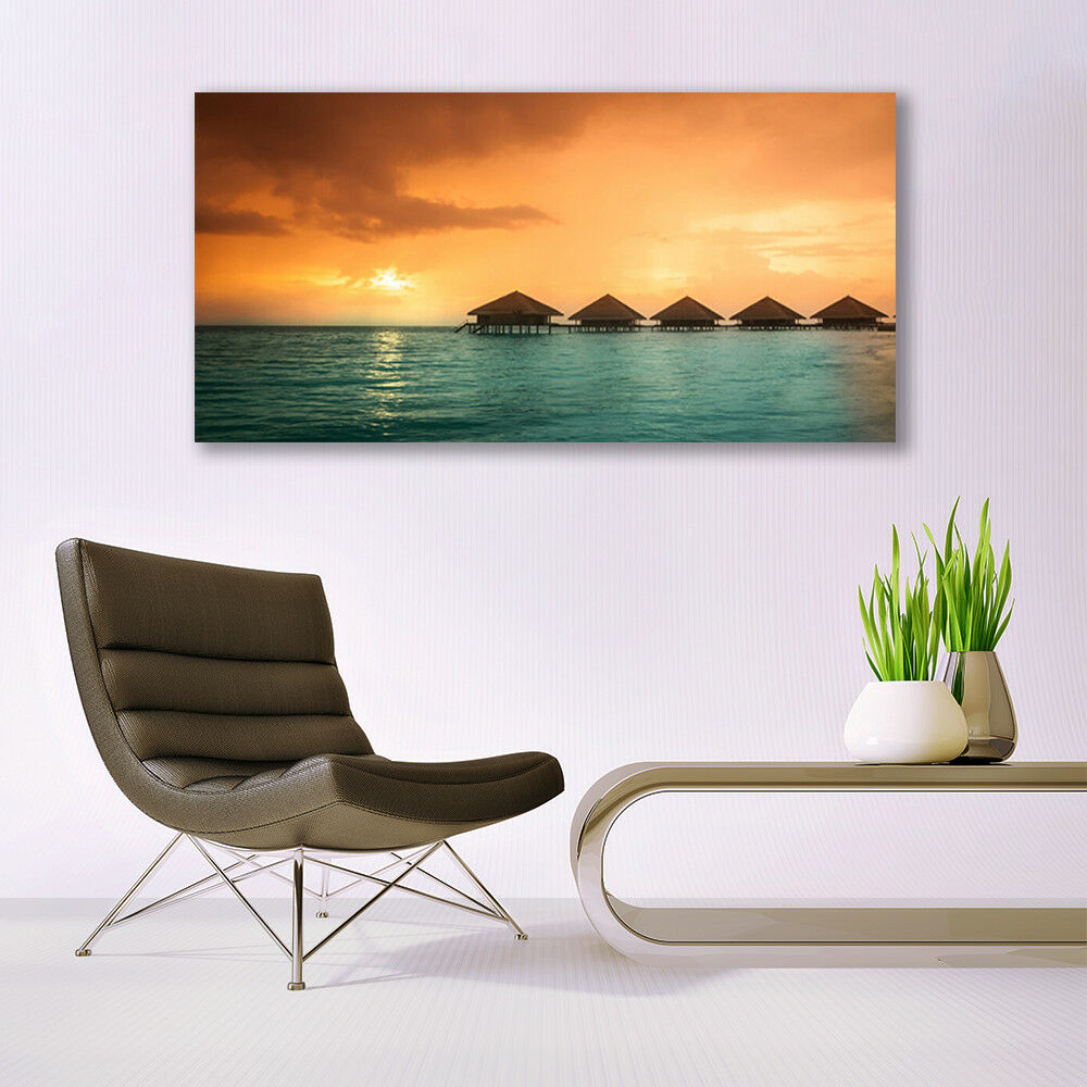 Canvas Canvas Canvas print Wall art on 140x70 Image Picture Sea Sun Landscape 58c5b6
