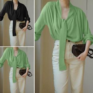 Mode-Femme-Manche-Longue-Couleur-Unie-Sangle-de-cravate-Confor-Shirt-Haut-Plus