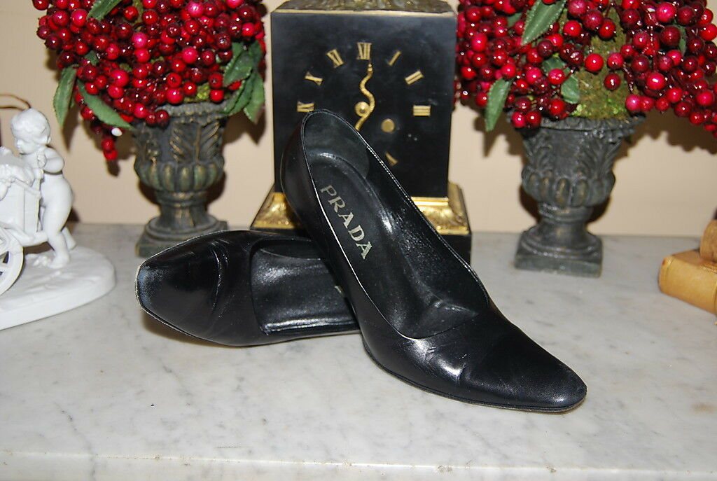 PRADA ITALY BLACK LEATHER HIGH HEEL POINTY TOE WOMEN'S PUMP Schuhe SIZE 36 1/2