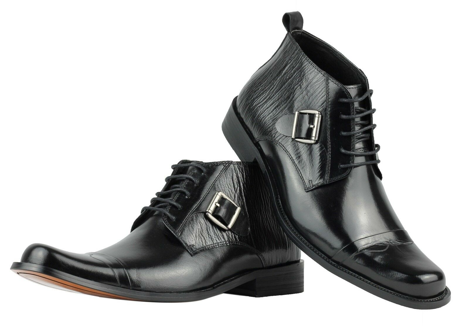 Mens Real Leather Polished Black Lace up Italian Style Formal Bnkle Boots Shoes