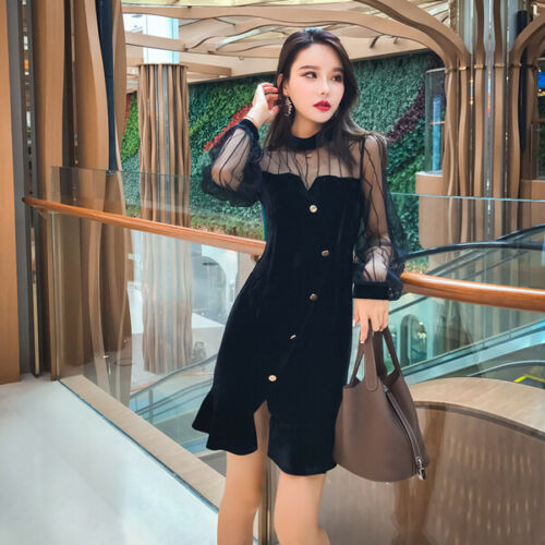 Morbido Elegante Tubino Nero Donna 4981 Abito Vestito Slim Trasparente 44fqU0wB