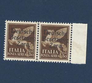 ZARA BESETZUNG ITALY GERMANY OCC. 50C MICHEL #23 STAMPS UNUSED OG PAIR W TAB