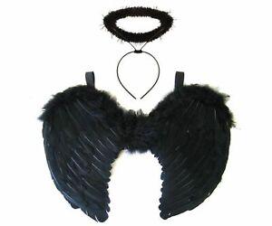 NEW BLACK ANGEL FAIRY WINGS & HALO SET DARK FANCY DRESS HALLOWEEN COSTUME GOTHIC