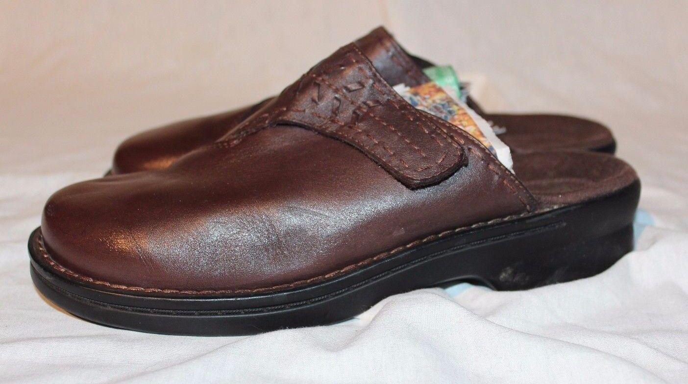 CLARKS Damenschuhe Braun Leder Mule Slide Schuhes 7M Accent Stitching/Lacing 35537