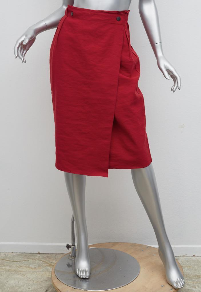 LANVIN Womens Red Wool Pleat Button Slit High-Waist Knee-Length Skirt 8-40