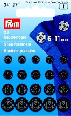 Prym 20 Druckknöpfe zum Annähen 6-11 mm silber 341270