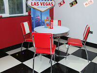 American 50s Diner Furniture 4 Red Chairs