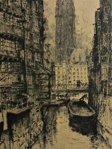 Hans-KAUMANN-1886-1943-antik-Radierung-1930-DER-STECKELHORNFLEET-IN-HAMBURG