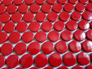 Image Is Loading 11pcs Red Penny Round Ceramic Mosaic Tile Kitchen