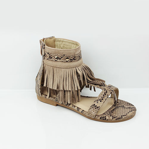 WOMENS CASUAL SUMMER STRAPPY FLAT TASSEL ANKLE SANDALS LADIES SHOES NEW SIZE 3-8