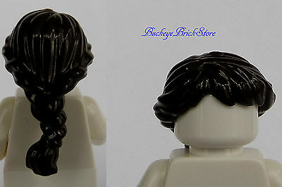 LEGO LOT OF 20 NEW DARK BROWN MINIFIGURE LONG BRAIDED HAIR GIRL FEMALE WIG PIECE