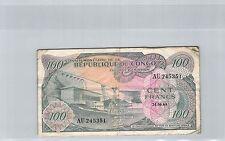 REPUBLIQUE DEMOCRATIQUE DU CONGO 100 FRANCS 24.6.1963 N° AU245351 PICK 1a