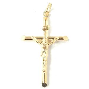 Crucifijo cruz colgante 9ct Oro Amarillo Nuevo caracteriza semi-sólida 2.3g Unisex