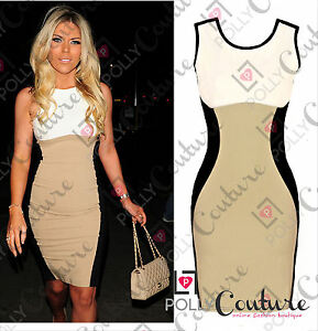 Womens-Bodycon-Contrast-Optical-Illusion-UK-Cocktail-Evening-Ladies-Pencil-Dress