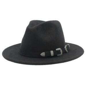 Women-Wool-Panama-Hat-Stiff-Brim-Jazz-Church-Fedora-Cap-Black-Leather-Band-AQC