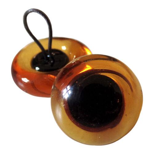Transparente Glasaugen mit runder Pupille und Öse bernstein