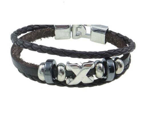 Leather Bracelet Unisex Celebrity Surfer Tribal Goth Friendship Black B29