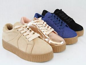 ea157f0a5ba2 Image is loading Women-Fashion-Sneaker-Cute-Mid-Platform-Wedge-Design-