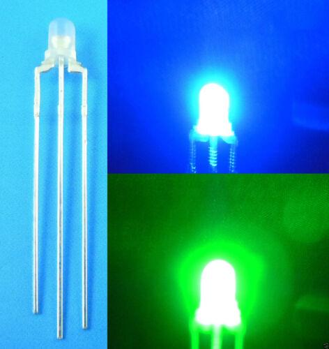 Pure Green 3 Pin LED Common Anode 100Pcs New 3mm Dual Bi-Color Blue