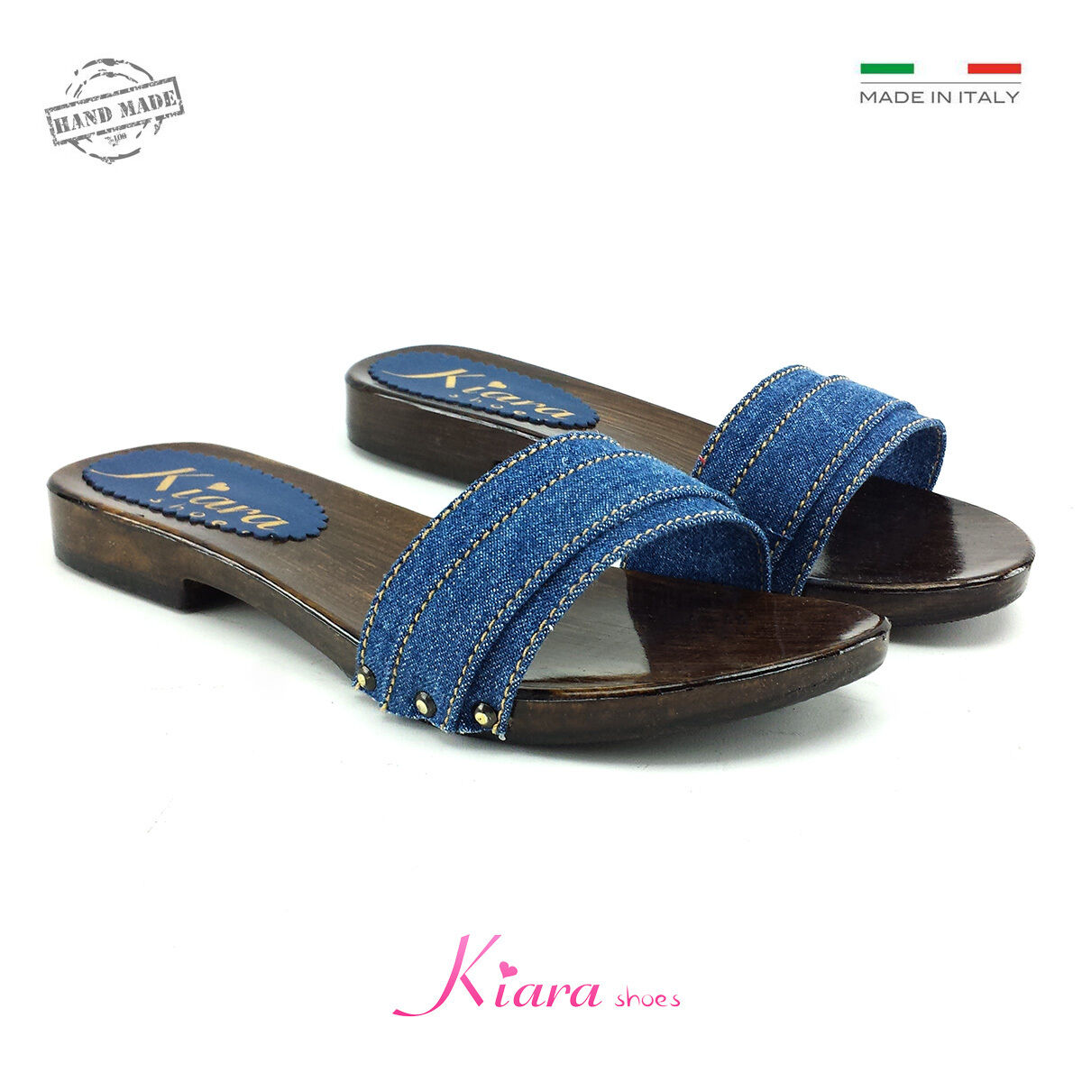 Zoccoli Bassi Denim - chaussures Made in  35-36-37-38-39-40-41-42 - Tacco 2 cm