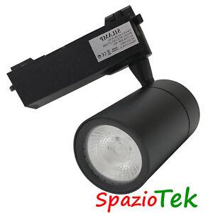 Faretto-Monofase-30Watt-LED-COB-su-Binario-30W-Luce-bianca-proiettore-locale