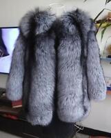 100% Real genuine (Vulpes vulpes) silver fox fur long coat  in original colour
