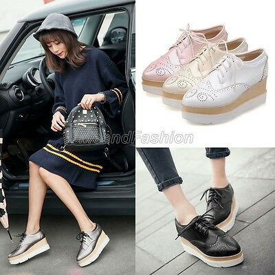 Womens Ladies Punk Lace Up High Platform Wedge Heel Brogue Creepers Shoes 6951