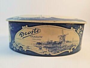 Vintage-Droste-Haarlem-Holland-Tin-Delft-Blue-with-Sailing-Ship-Windmill-Farm