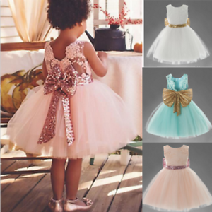 Baby Girl Big Bow Dress Communion Party Occasion Gown Wedding Flower ...