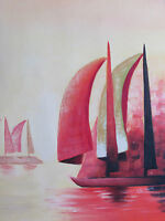 sailing boats large oil painting canvas contemporary sea ocean original red art