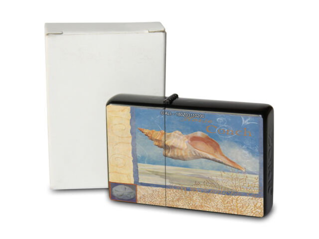Pocket Windproof Lighter Brushed Oil Refillable Beach shell